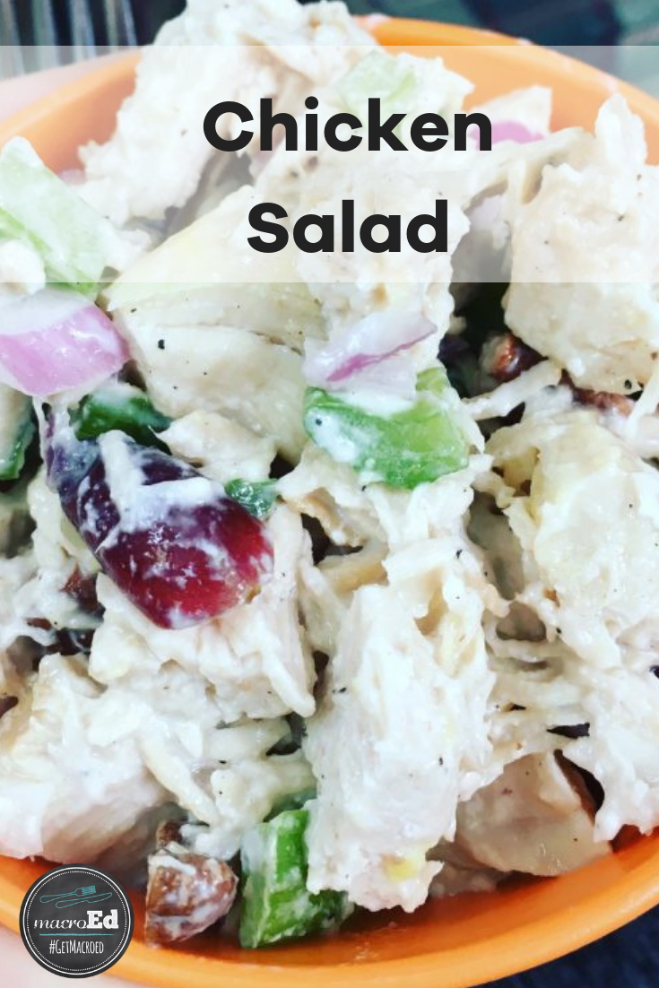 Looking for a easy yet healthy chicken salad recipe with no mayo? This keto friendly version is made with grapes, celery, red onions, pecans, vinegar, and with greek yogurt. To make it even easier, try opting for rotisserie chicken. Try our twist on this classic chicken salad for an easy summer lunch #withgrapes #nomayo #chickensalad #ketorecipes #easy