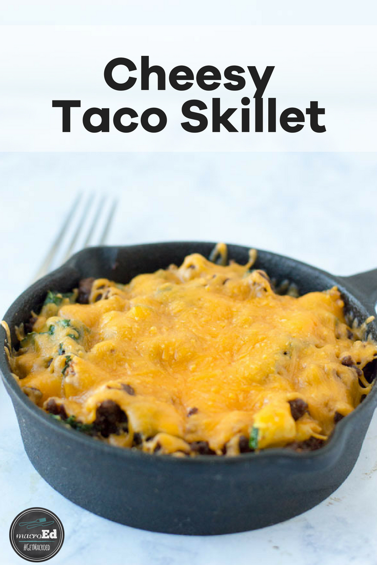 Craving tacos or tex mex, but trying to keep your family on a low carb lifestyle? I am all about simple meals and one pot or skillet recipes that hide in veggies for my kids. So I came up with this cheese ground beef taco skillet. It's a gluten free and keto friendly recipe to add to your list of delish and easy dinners. Feel free to switch out the beef for ground turkey and in your favorite veggies to customize this healthy taco skillet. #lowcarb #tacoskillet #easydinners #onepot #cheese