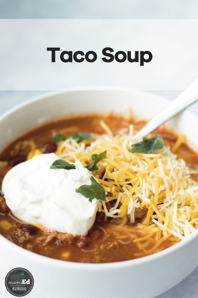 Our low carb taco soup is so good I wanted to lick the bowl. It has all of the flavors of a taco in a comforting soup. Ground beef or turkey, taco seasoning, ranch dressing, garlic, corn, chili beans, and diced onion, bell pepper, and tomatoes. Just dump everything in the crock pot or on the stove top. You can freeze the extra for leftovers. Try this quicky, healthy keto taco soup recipe! #tacosoup #crockpot #lowcarbsoup #ketorecipe