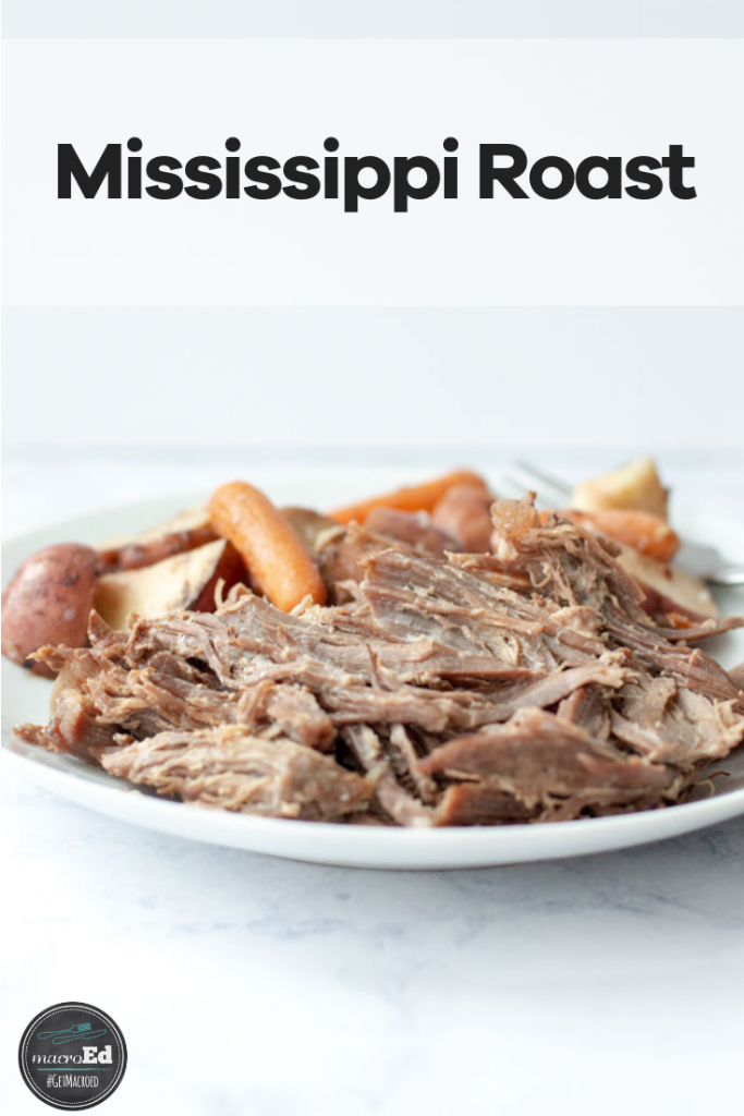 This Mississippi Roast recipe makes the most delicious pot roast. It's made with just five simple ingredients: beef chuck roast, butter, pepperoncini peppers, ranch seasoning, and a dry au jus mix. You can make this healthy, keto recipe in your crockpot or instant pot to serve as a one pot family dinner. #slowcooker #roast #beef #dinnerrecipes #instapot
