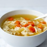 Chicken (or Turkey) Noodle-less Soup
