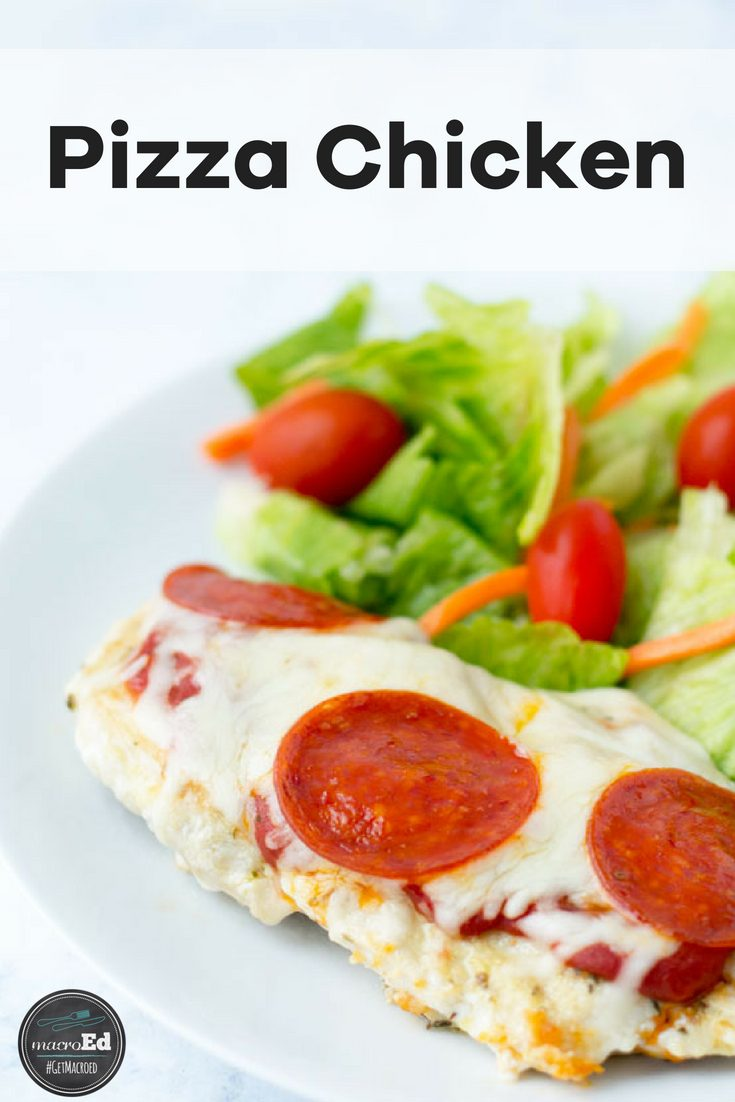 Needing some low carb and gluten free comfort food? What about this keto friendly pepperoni pizza chicken bake? It can also be made in the slow cooker or Instant pot; A perfect meal for the family. All you need is chicken breasts, olive oil, tomato sauce and paste, turkey pepperoni, shredded mozzarella, and seasoning. All the pizza without the crust. #lowcarbpizza #chickenpizza #keto #pizzarecipe