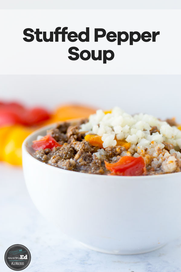Stuffed Peppers are amazing but kinda fussy to fill, prep, and eat. Our version is made on the stovetop, but you could use your Crockpot or instant pot. This healthy, low carb recipe is everything you loved about stuffed peppers, but super easy. It is keto and paleo friendly with cauliflower and beef. It is also Whole 30 approved! #slowcooker #instapot #lowcarb #withcauliflower #stuffedpeppers