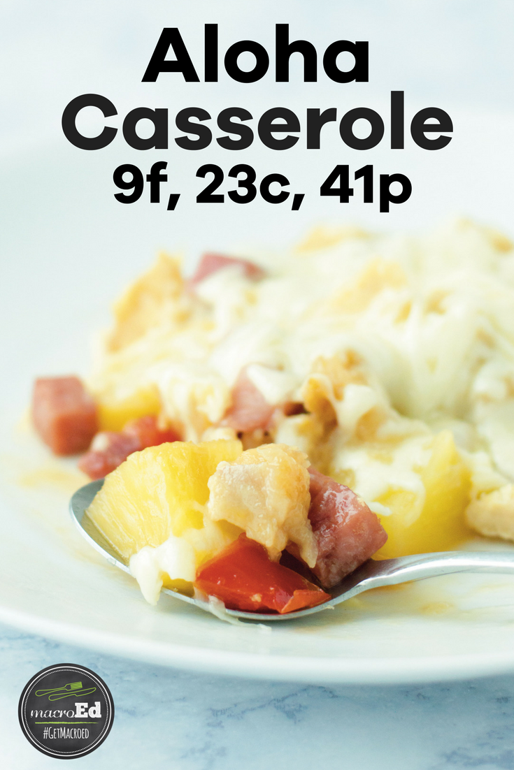 """This Aloha Chicken Casserole recipe is actually SO EASY and requires LESS PREP than """"Hamburger Helper"""" style recipes. You literally just dump all of the things into a casserole dish and let the magic happen. It's made with pineapple, chicken, and ham. Think of it as a hawaiian mexican fajita. So, for all you lovers of either ridiculously fast, easy dinners OR all things Hawaiian, THIS meal is going to be right up your alley.  Check it out! #easydinner #chicken #alohacasserole #easyrecipe #baked"""