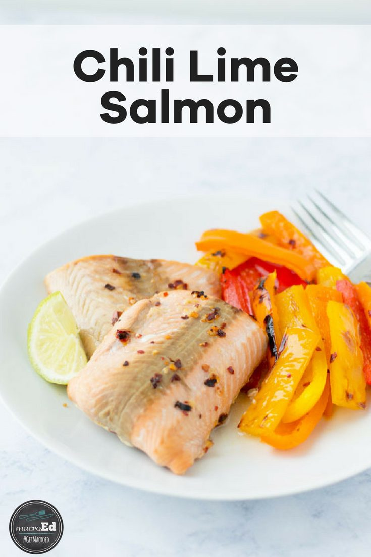 I love sheet pan meals! They are quick, easy, and clean up takes just a minute. The flavors in this Chili Lime Salmon recipe meld together so well because of the marinade. After the salmon has soaked up all of the juices bake it in foil to tender, flaky perfection. This recipe fits into paleo, keto, and whole 30. Plus, it is family approved! #salmon #baked #chililime #keto