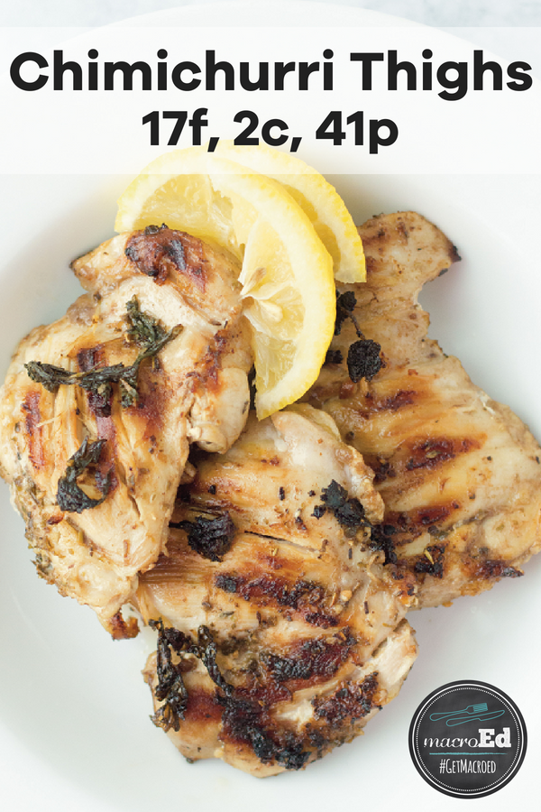 Try your hand at grilled chicken with a delicious and zesty sauce! This chimichurri sauce is made with fresh herbs, garlic, vinegar, chili pepper, and olive oil. It makes the perfect marinade to liven up any dish and chicken thighs are no exception. You can also try baking it. #chicken #chimichurri #sauce #recipe