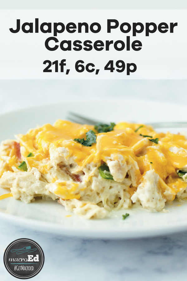 This thick and juicy Jalapeno Popper Chicken Casserole is a perfect recipe for those who are on a low carb, keto, and gluten free diets. It is a quick and easy baked  meal to add to your meal plan rotation. Just add chicken, cheese, bacon, jalapenos with cream cheese or sour cream. #easydinner #keto #lowcarb #bakedcasserole