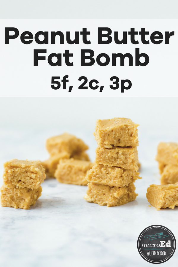 Sometimes your diet needs a little extra fat.  In those moments, you can throw extra butter on your veggies, eat half an avocado, or enjoy a Peanut Butter Fat Bomb.  I don't need to tell you which I'd prefer most days.  😉  Check out this low carb, macro-friendly, completely Muggle-proof Peanut Butter Fudge recipe.  No one will know you're chasing your goals while you're noshing on this.
